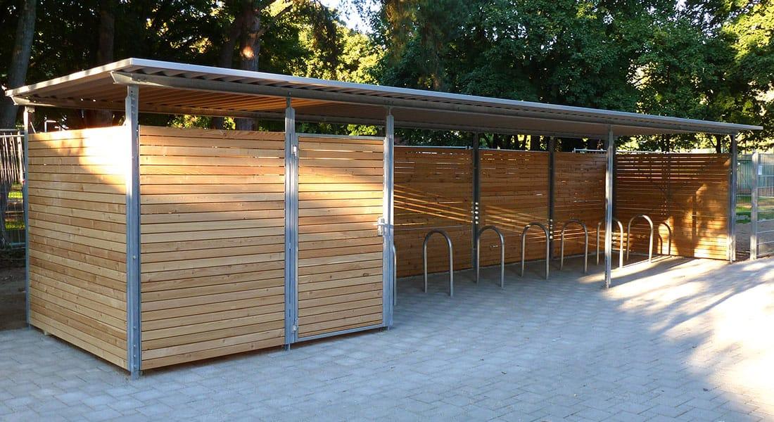 Einhausung Fahrradunterstand Holz Lärche