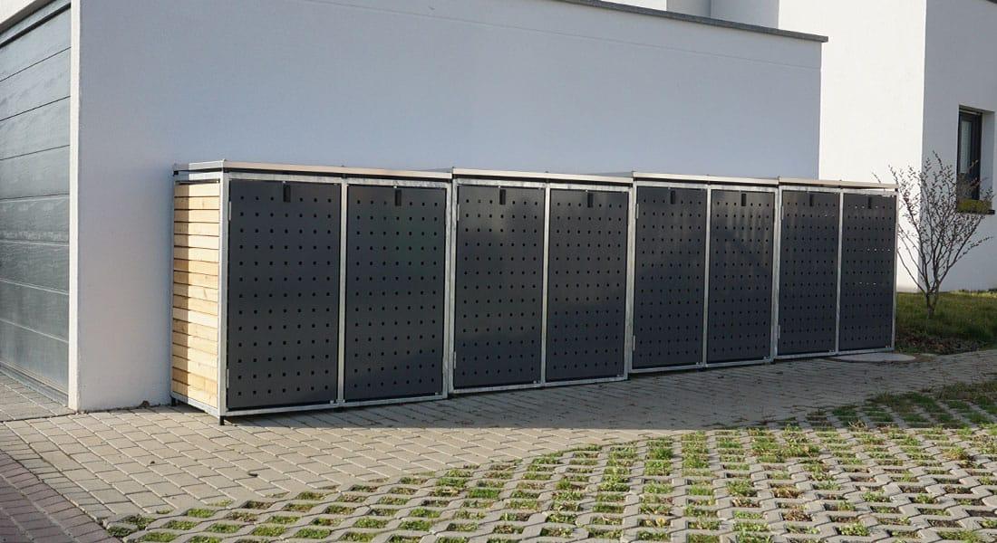 Mülltonnenbox 2er Metall & Holz