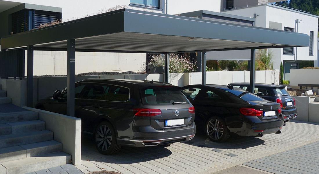 Doppel-Carport, Dach mit extensiver Begrünung